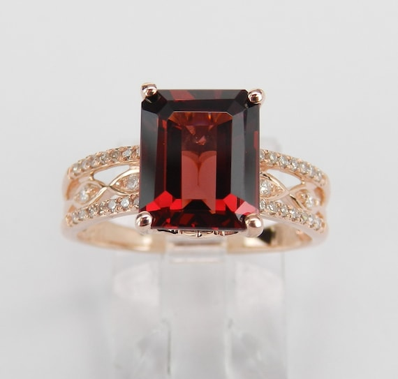 Garnet and Diamond Engagement Ring Rose Gold Size 7 Emerald Cut January Gemstone FREE Sizing