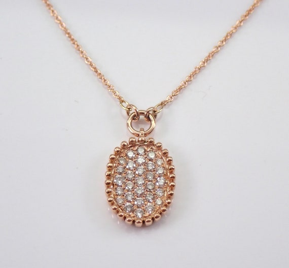"""14K Rose Gold Diamond Cluster Necklace 17"""" Necklace Chain Wedding Gift"""