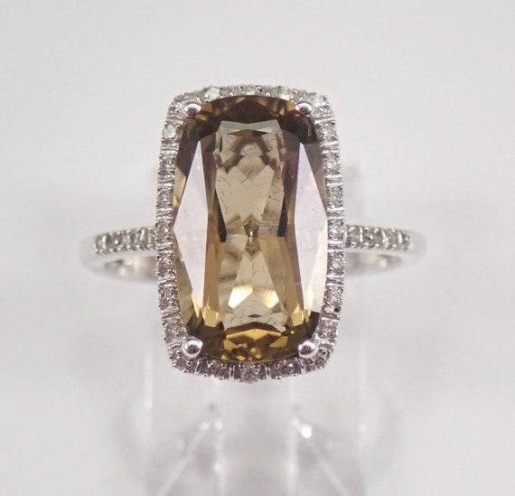 6.20 ct Smokey Topaz and Diamond Halo Engagement Ring 14K White Gold Size 7.25 FREE Sizing
