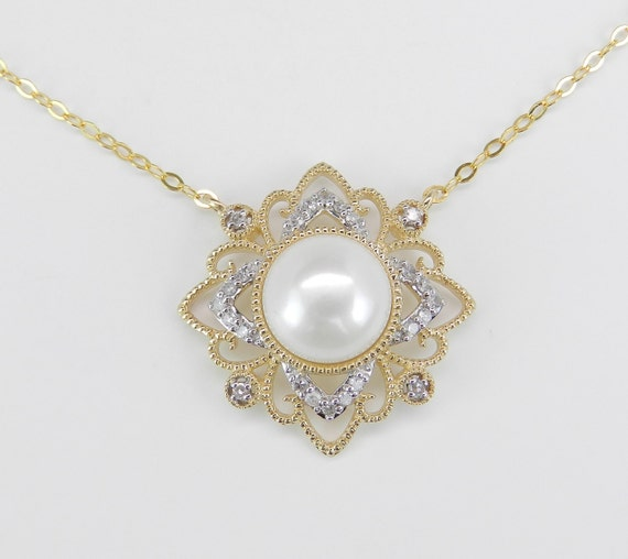 Yellow Gold Pearl and Diamond Snowflake Necklace Wedding Pendant Gift Chain 17""
