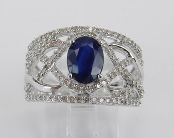 14K White Gold Diamond and Sapphire Wide Engagement Gemstone Promise Ring Size 7