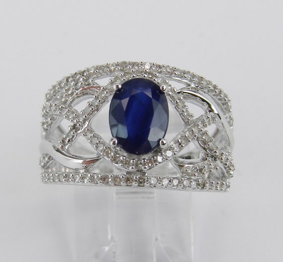 14K White Gold Diamond and Sapphire Engagement Ring, Wide Multi Row Gemstone Ring, Crossover Sapphire Ring, Size 7 FREE Sizing