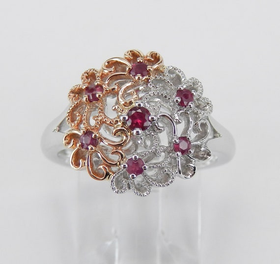 Vintage Style White and Rose Gold Ruby Flower Cocktail Cluster Ring Size 6