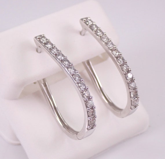 White Gold 1.15 ct Diamond Hoop Earrings Diamond Hoops Huggies Oval Design