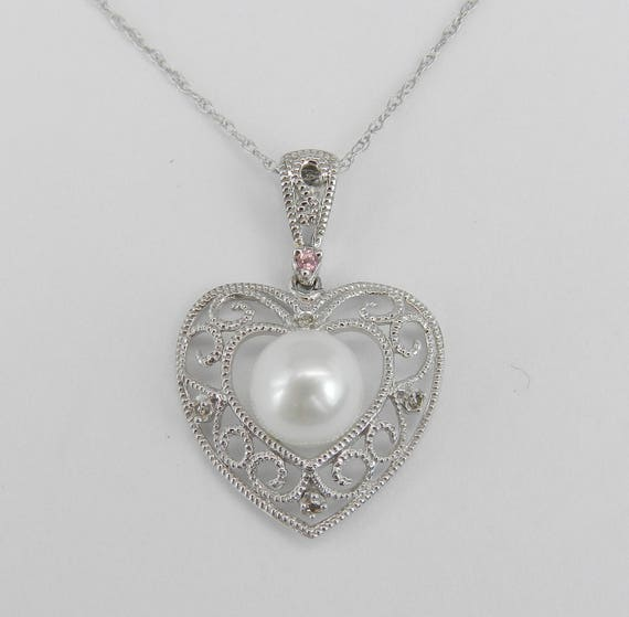 SUPER SALE! 14K White Gold Diamond Pearl Pink Tourmaline Heart Pendant Necklace Chain 18""