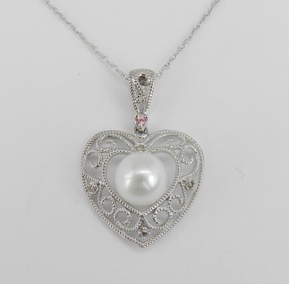 14K White Gold Diamond Pearl Pink Tourmaline Heart Pendant Necklace Chain 18""