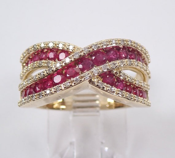 Diamond and Ruby Crossover Bypass Wedding Band Anniversary Ring Yellow Gold Size 7 July Birthstone