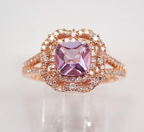 Cushion-Cut Amethyst and Diamond Halo Engagement Ring 14K Rose Gold Size 7 FREE Sizing