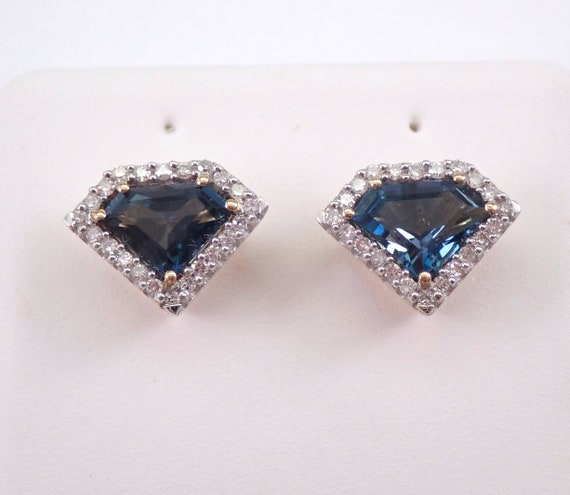 London Blue Topaz and Diamond Stud Earrings Kite Shaped Halo Studs Yellow Gold December Birthstone SUPERGIRL Studs