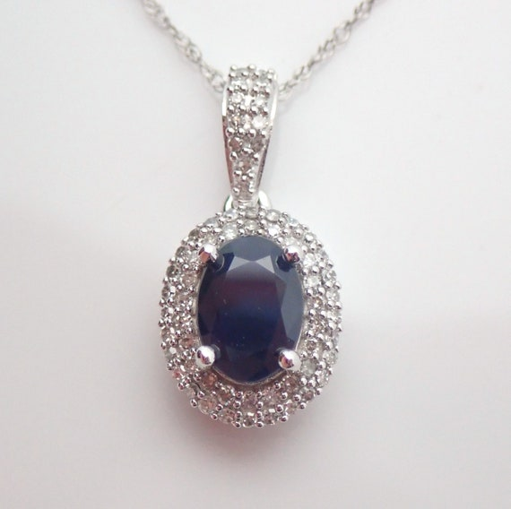"""Diamond and Sapphire Halo Necklace 14K White Gold Pendant 18"""" Chain Wedding Gift"""