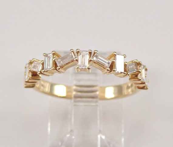 Baguette Diamond Wedding Ring Anniversary Band 14K Yellow Gold Sizable Size 6.75 FREE SIZING