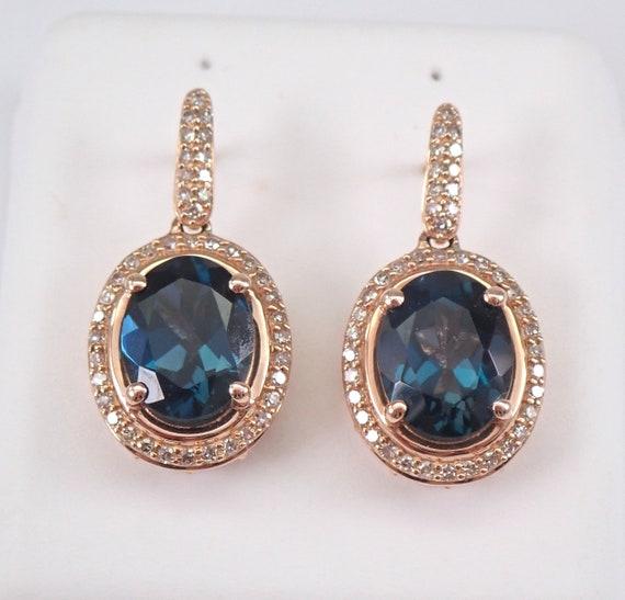14K Rose Gold London Blue Topaz and Diamond Halo Dangle Drop Earrings 4.00 carat