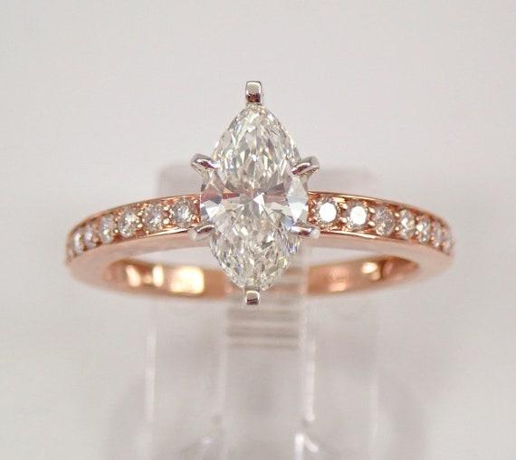 14K Rose Gold 1.45 ct Diamond Engagement Ring Size 7 Modern Marquise Design