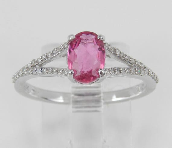 Diamond and Pink Sapphire Ring, Pink Sapphire Engagement Ring, White Gold Promise Ring, Split Shank Engagement Ring, Size 7 FREE Sizing