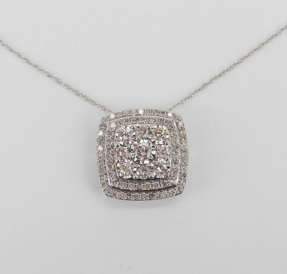White Gold 1.00 ct Diamond Cushion Cut Cluster Pendant Wedding Necklace Chain 18""