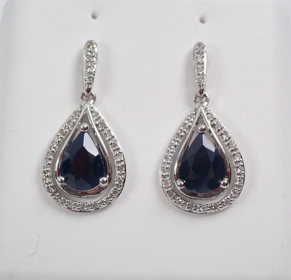 Sapphire and Diamond Earrings 14K White Gold Dangle Drop Dark Blue September Gemstone