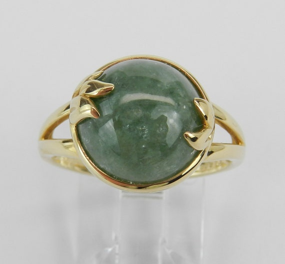 Jade Ring, 14K Yellow Gold Ring, Jade Solitaire Ring, Engagement Promise Right Hand Ring, Green Jade, Vintage Style Ring, Size 7.75
