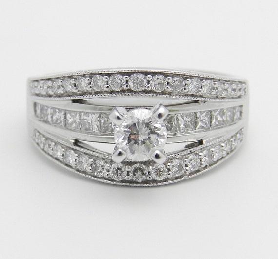 1.50 ct Round Brilliant Natural Diamond Engagement Ring 14K White Gold FREE SIZING
