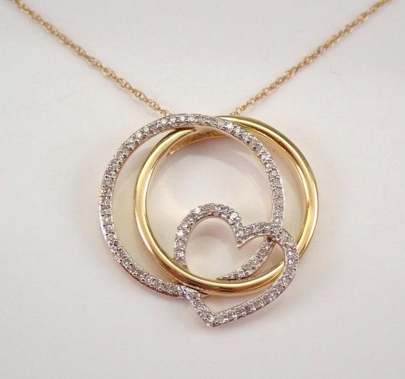 "Yellow Gold Diamond Heart Pendant Interlocking Circles Necklace 18"" Chain"
