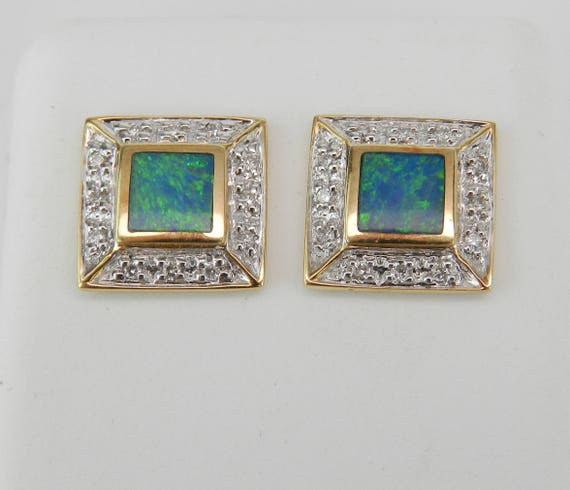 Square Opal Inlay and Diamond Stud Earrings Halo Studs 14K Yellow Gold Earring