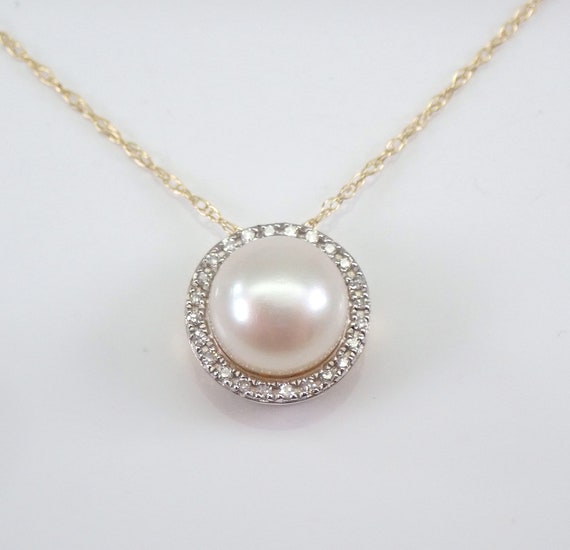 "14K Yellow Gold Diamond and Pearl Halo Pendant Necklace Chain 18"" June Birthstone"