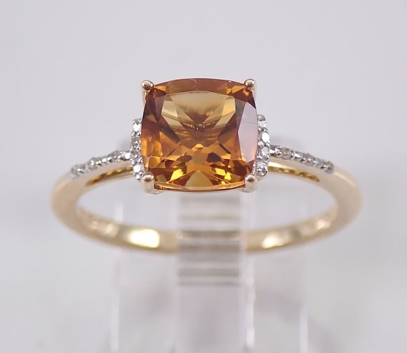 Cushion-Cut Citrine and Diamond Engagement Ring 14K Yellow Gold Size 7 November Gemstone
