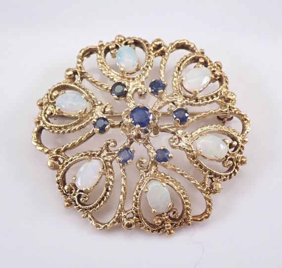 Vintage Antique 14K Yellow Gold Opal and Sapphire Circle Brooch Pin Pendant