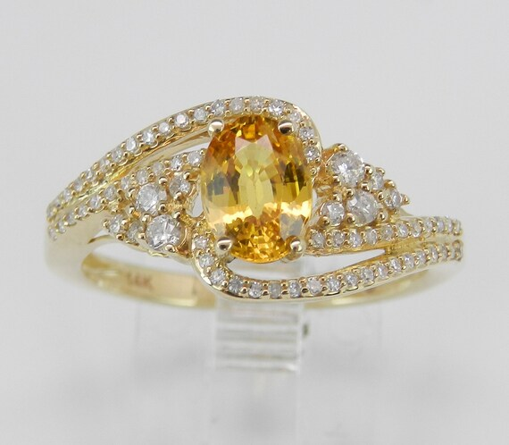 Yellow Sapphire and Diamond Engagement Ring Yellow Gold Promise Size 7 VIVID