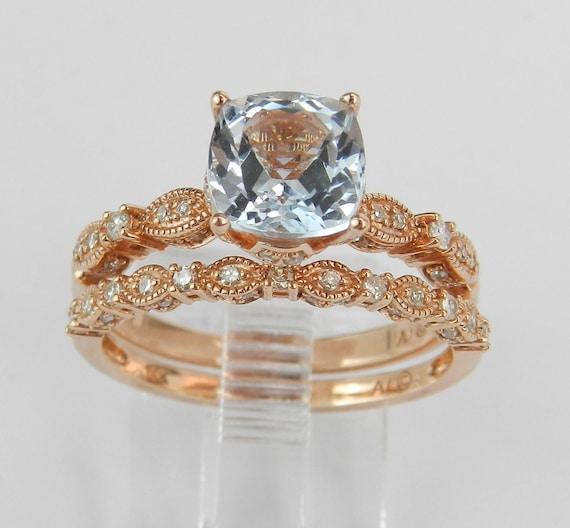 Aquamarine Cushion Cut Bridal Set, Rose Gold Engagement Ring Set, Aquamarine Cushion Engagement Ring, Aquamarine Wedding Set