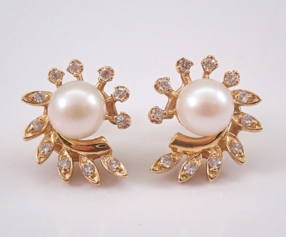 Vintage 14K Yellow Gold Pearl and Diamond Stud Earrings June Birthstone Studs