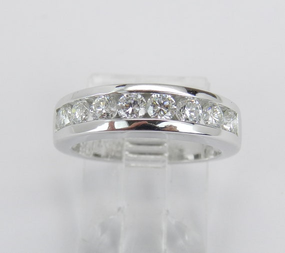 Platinum Diamond Wedding Ring, Platinum Diamond Anniversary Band, Channel Set Diamond Band, Stackable Diamond Ring, Size 4.5