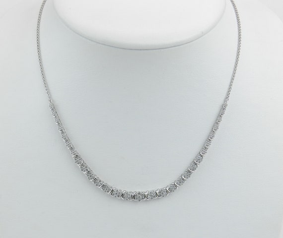 "1.00 ct Diamond Cluster Tennis Necklace White Gold Adjustable Chain 16"" to 19"" April Birthstone"