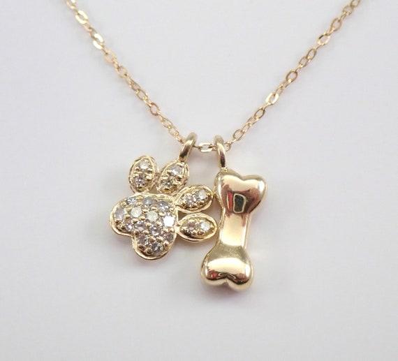 "Yellow Gold Diamond PAW Print Dog Bone Pendant Wedding Gift Necklace Chain 18"""