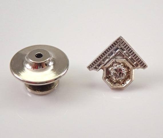 Antique Vintage Mens 14K White Gold Masonic Diamond Tie Tack Lapel Pin PERFECT GIFT