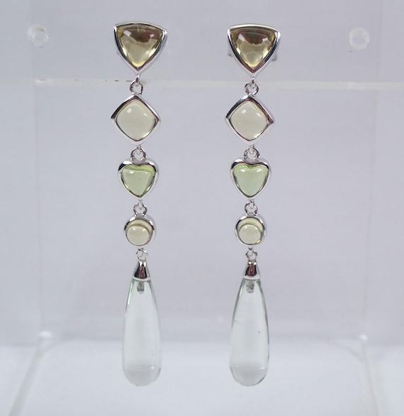 Multi Color Green Peridot Briolette Dangle Drop Earrings 14K White Gold August Gemstone