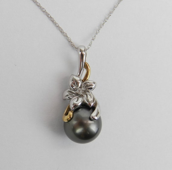 "Black Tahitian Pearl and Diamond White Gold Pendant Flower Necklace Chain 18"" June Birthday"