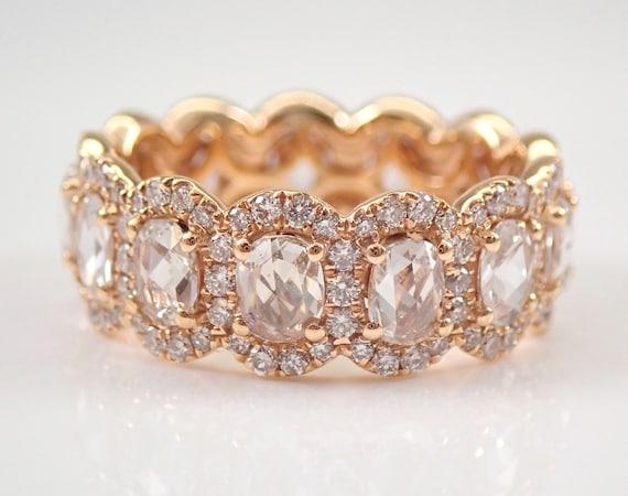 18K Rose Gold 2.89 ct Oval Diamond Halo Eternity Wedding Ring Anniversary Band Size 5.5