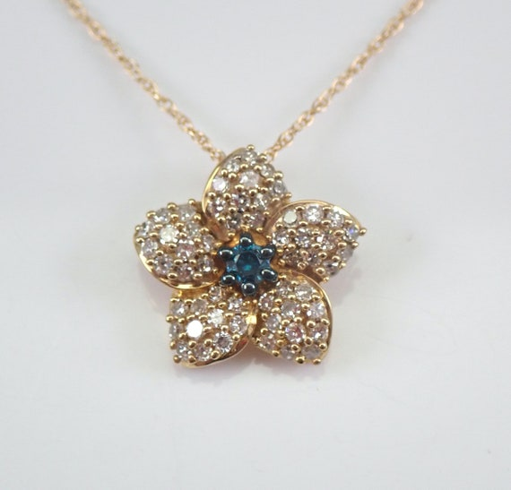 "Blue and White Diamond Cluster Flower Pendant Necklace 18"" Yellow Gold Chain"