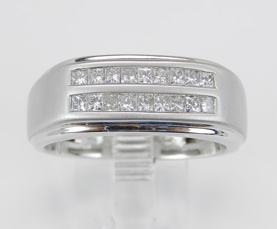 Mens Princess Cut Diamond Wedding Ring Anniversary Band White Gold Size 10.5