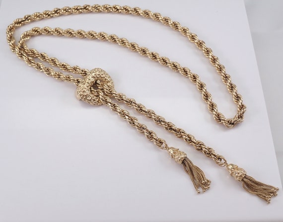 Vintage Antique Solid Rope Chain Double Tassel Necklace 14K Yellow Gold 93 gr Adjustable up to 35""