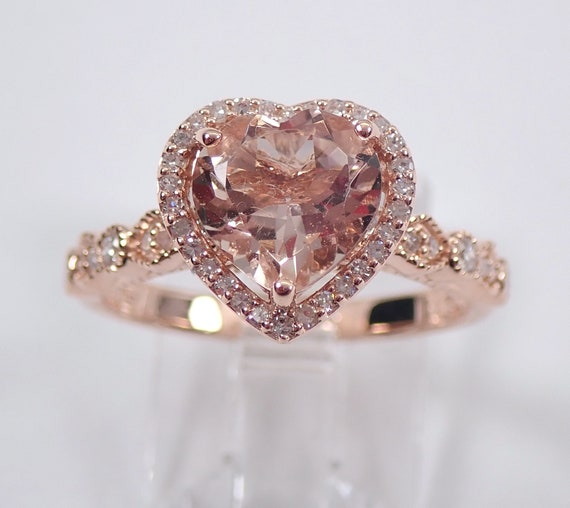 Heart Morganite and Diamond Halo Engagement Ring Rose Gold Size 7 Pink Aqua FREE Sizing