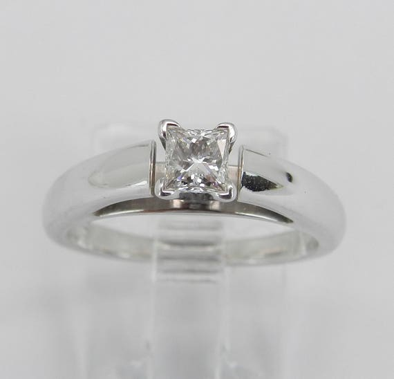 14K White Gold E SI2 Princess Cut Diamond Solitaire Engagement