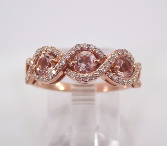 Rose Gold Morganite and Diamond Three Stone Anniversary Ring Wedding Band Size 8 FREE Sizing