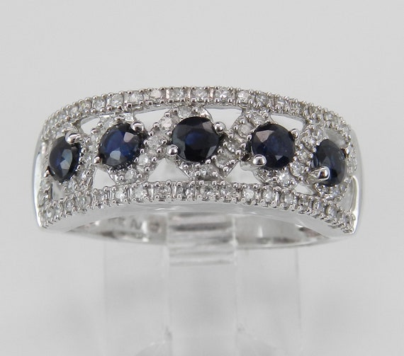 Diamond and Sapphire Wedding Ring Anniversary Band White Gold Size 6.5 FREE Sizing