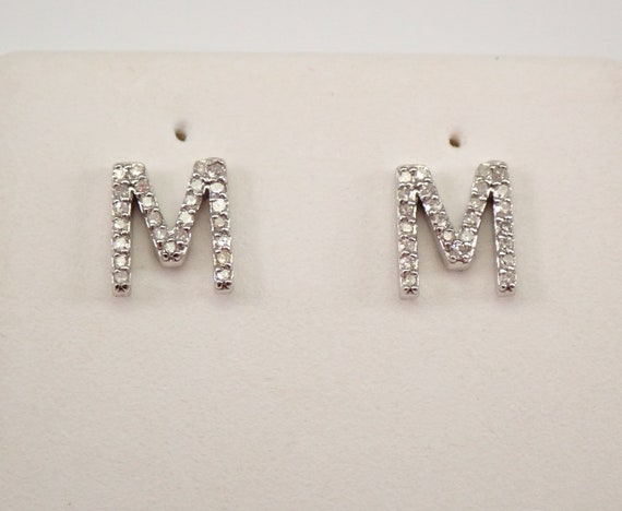 White Gold Diamond M INITIAL Stud Earrings Unique Studs Wedding Gift