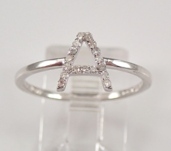 White Gold Diamond INITIAL A Ring Size 7 Best Friend Gift Graduation Sweet 16