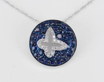 """Diamond and Sapphire Butterfly Necklace Cluster Pendant 14K White Gold 18"""" Chain"""