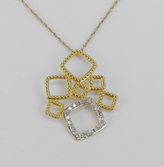 "Diamond Necklace Pendant 14K Yellow Gold Wedding Gift Chain 17"" Modern Geometric Design"