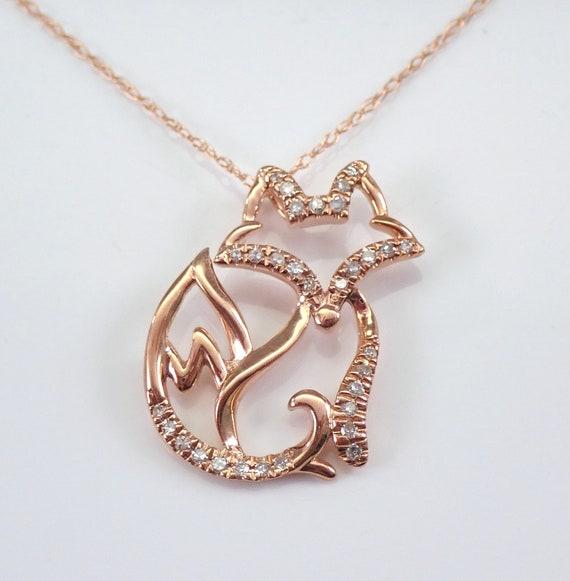 """Rose Gold Diamond FOX Foxy Pendant Necklace Chain 18"""" Unique Design"""