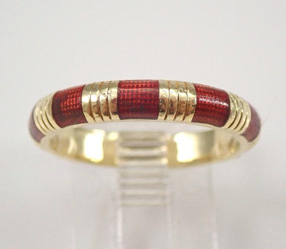 Vintage Estate 18K Yellow Gold Enamel Wedding Ring Anniversary Band Size 6.5